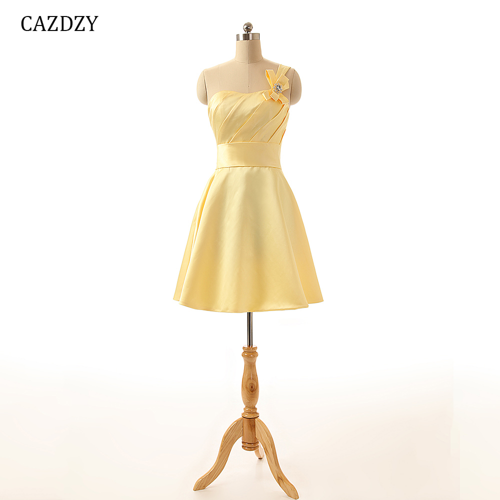 CAZDZY A Line Sweetheart One Shoulder Women Dress Knee Length Dresses from  Satin Material with Pleats and Beading 5f8c7d485006