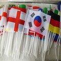 Ручные флаги стран мира с полюсами для чемпионата мира по футболу, 32 страны, маленькие бандеирские командные флаги для Фанатов Футбольного ...