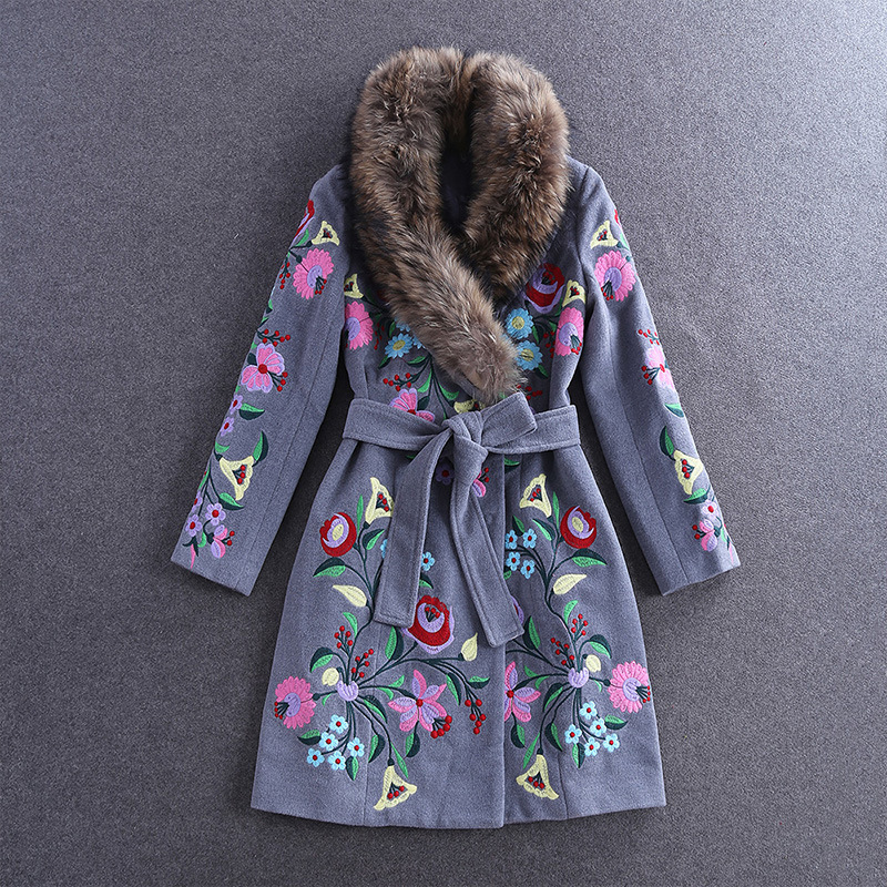European Fashion 2016 High Quality Embroidery Woolen Overcoat Long font b Womens b font Outwear with