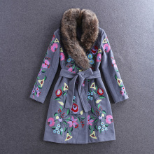 European Fashion 2016 High Quality Embroidery Woolen Overcoat Long Womens Outwear with Fur Collar Female Wool Jackets Coats