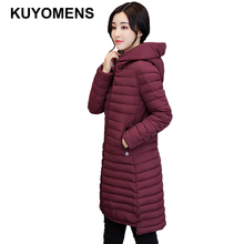 KUYOMENS New 2017 Winter Coat Women Slim Plus Size Outwear Medium-Long Wadded Jacket Thick Hooded Cotton Fleece Warm Cotton Park