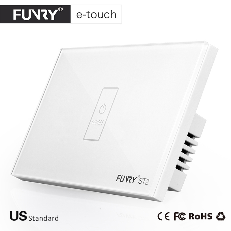 FUNRY ST2-US Standard Touch Switch 1 Gang 1 Way Crystal Glass Panel Smart Wall Switch for Home Automation Free Shipping 2017 free shipping smart wall switch crystal glass panel switch us 2 gang remote control touch switch wall light switch for led