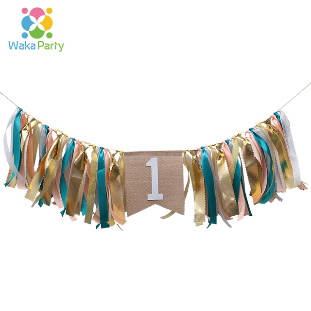 rustic 1 highchair bunting banner garland for one year 1st birthday