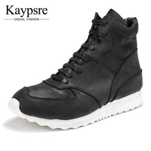 Kaypsre Genuine leather men fashion boots lace-up winter adult shoes