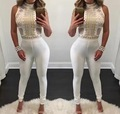 2016 New Sequins Hottest Fashion Style High Neck Bodycon Jumpsuit Women Bodysuit