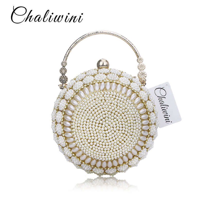 Chaliwini Women's Pearl Beaded Evening Bags Pearl Beads Clutch Bags Handmade Wedding Bags Glod Silver Quality Assurance pearl beaded flounce skirt