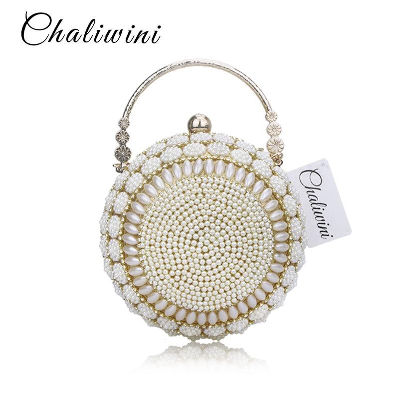 Chaliwini Women's Pearl Beaded Evening Bags Pearl Beads Clutch Bags Handmade Wedding Bags Glod Silver Quality Assurance