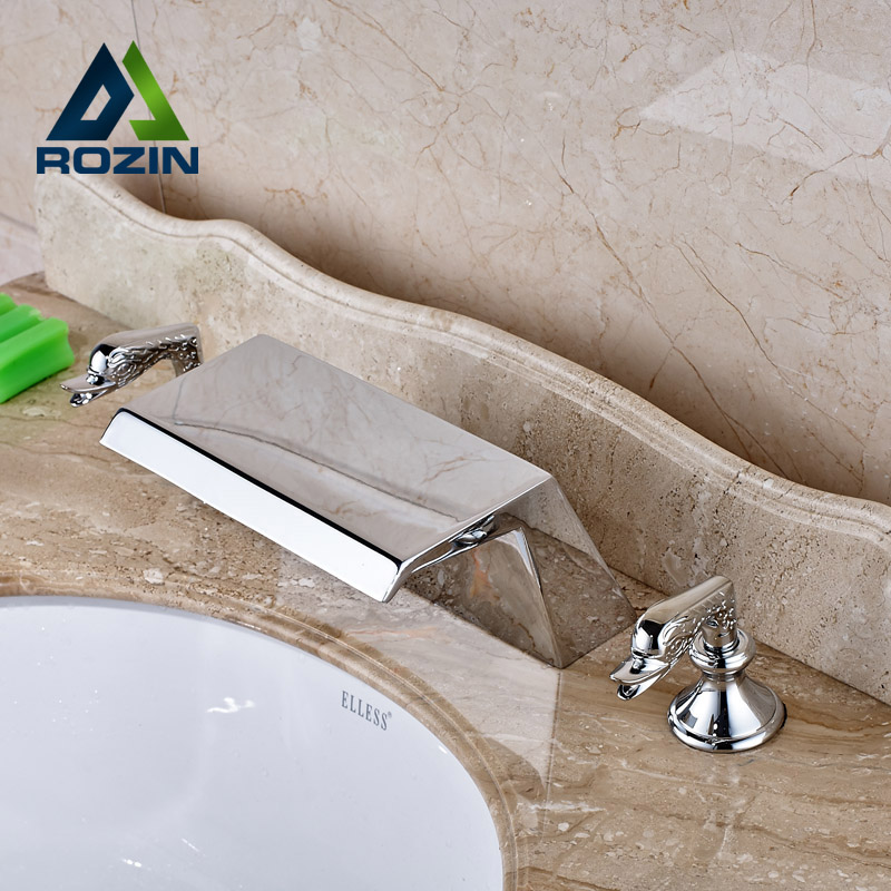 Deck Mount Wide Waterfall Brass Basin Faucet Widespread 3 Holes Bathroom Mixer Tap Crane in Chrome deck mount wide waterfall brass basin