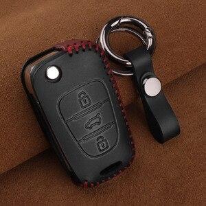 Image 2 - KEYYOU Funda de cuero para llave de coche, cubierta para Hyundai i20 i30 i40 IX25 Creta IX35 HB20 Solaris Elantra Accent para Kia K2 K5 Rio Sportage