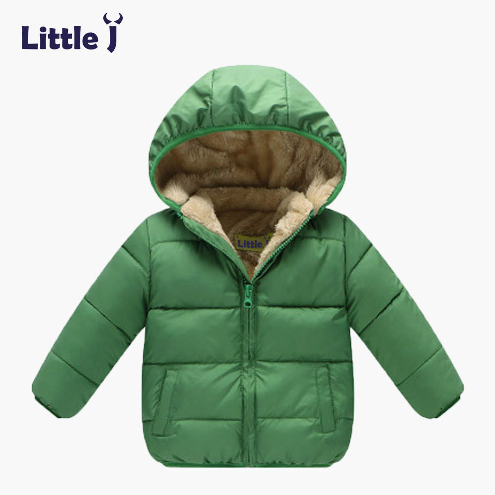 Little J Children Winter Fleece Jacket Kids Thicken Cotton Parkas Boys Girls Hooded Clothing Baby Snowsuit Padded Velvet Coats children thicken warm winter coat kids cotton padded jacket wadded outwear thickening boys girls fur hooded parkas clothes y105