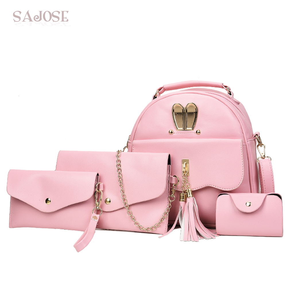Women Backpacks School Bags For Teenage Girls Female Pink PU Leather Purse 4 Sets Fashion Tassel Women Shoulder Bag DropShipping vintage tassel women backpack nubuck pu leather backpacks for teenage girls female school shoulder bags bagpack mochila escolar