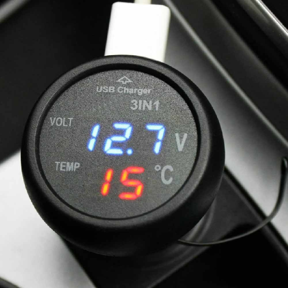 Micro Auto Universal Dual USB Car Charger 3 in 1 Digital LED 12V 24V USB Thermometer Voltage Battery Charger Voltmeter usb