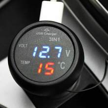 Micro Auto Universal Dual USB Car Charger 3 in 1 Digital LED 12V 24V Thermometer Voltage Battery Voltmeter