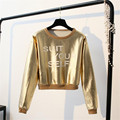 New arrivals harajuku t shirt women long sleeve tops golden silver hot sexy punk  fashion women crop top poleras de mujer