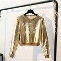 Os recém-chegados harajuku t shirt mulheres tops de manga longa de ouro poleras de prata sexy hot punk moda mulheres top de culturas mujer