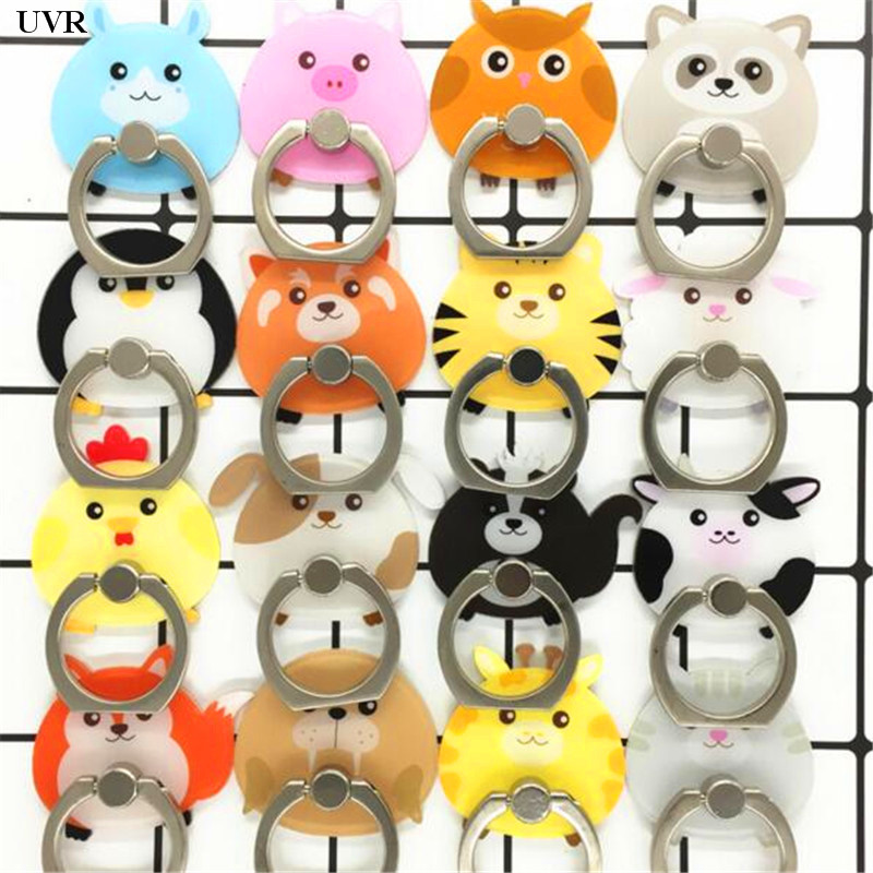 UVR 360 Degree Animals Cow Lion Finger Ring Smartphone Stand Holder Mobile Phone Holder Stand For IPhone Acrylic All Smart Phone