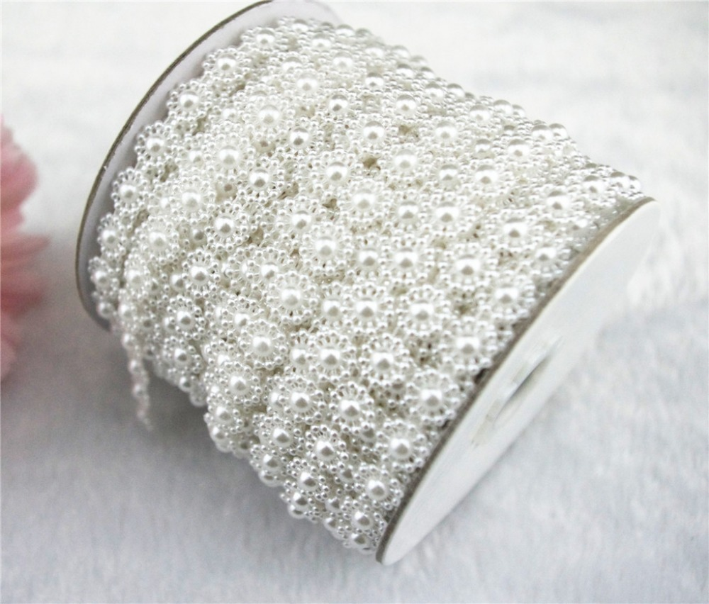25m roll 10mm White or Ivory Pearl Circle Chain Trims Costume Applique  Sewing Craft LZ45 fb826cdae1e9