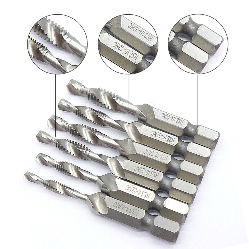 цена на 6pcs SAE Drill Tap Countersink Set Combination Deburr Bit 1/4 Quick Change Countersink Hex Bit Kit Tapping Deburring Drill Bits
