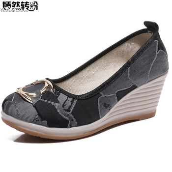Vintage Chinese Women Pumps Linen Shoes Retro Cloth Canvas Wedges Shoes Woman Platforms Zapatos Mujer 5cm Heel online shopping in pakistan with free home delivery
