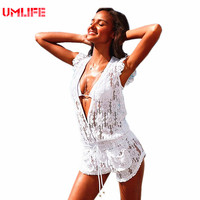 Bikini Cover Up White Tunics For Beach Wear 2017 New Pareo Lace Swim Cover Up Beach