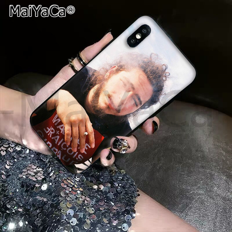, MaiYaCa DIY Painted Beautiful Phone Accessories Post Malone for Apple iPhone 8 7 6 6S Plus X XS MAX 5 5S SE XR Cover