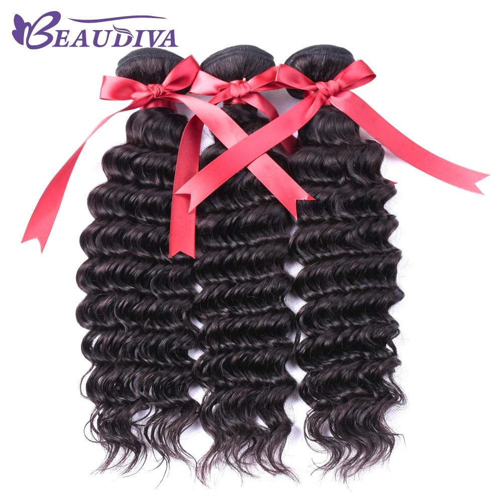 Beaudiva Brazilian Deep Wave Hair Weave Bundles Natural Color Human Hair 3 Piece 8-26 inch Non-Remy Hair Bundles