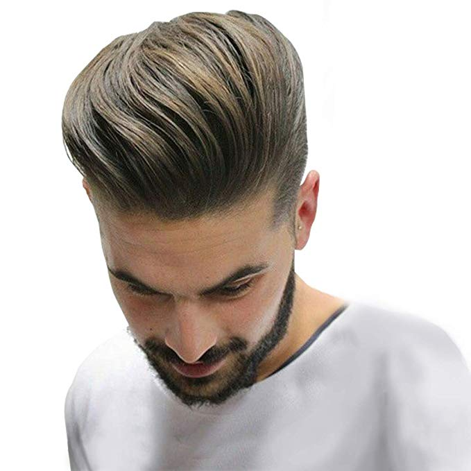 Durable And Breathable Skin+ Mono Men's Hair Toupee 100% Remy Human Hair Pieces Real Hair Replacement Toupee For Men Wig