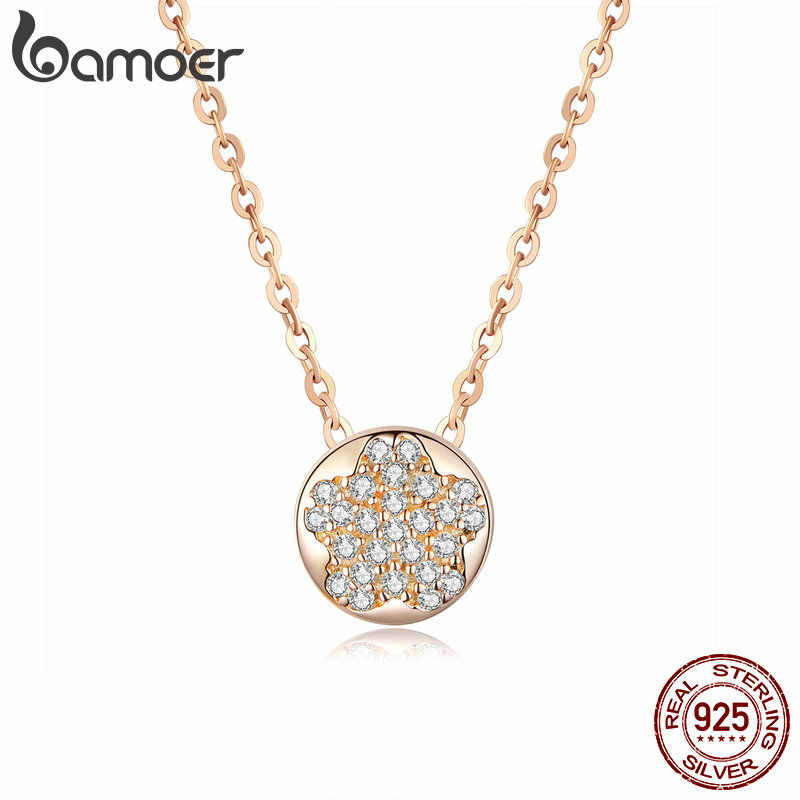 bamoer Round Choker Necklace for Women Cherry Blossoms Flower 925 Sterling Silver Short Necklaces Silver Jewelry 45mm BSN057