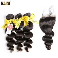 BAISI 100% Unprocessed Malaysian Virgin Hair Loose Wave 3 Bundles with Closure Free Shipping.