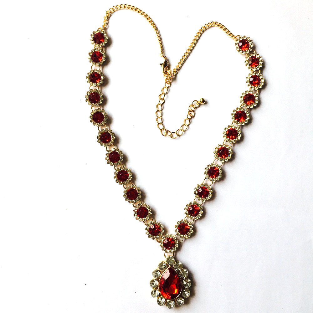 LiuJee Red flower Kundan stone necklace Indian Jewelry Necklace ...