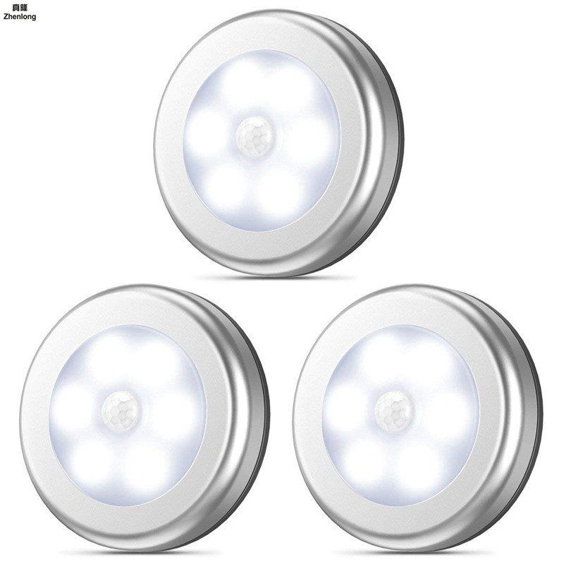 LED Motion Sensor 6leds Led Under Cabinet Lights Dry Battery Night Light Motion Lamp PIR Body Motion Wall Indoor Bedroon Led