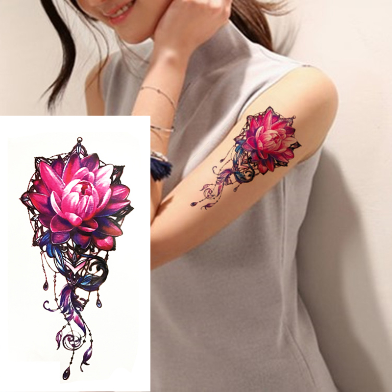 1pc colorful lotus temporary tattoos waterproof sexy women for Fake body tattoos