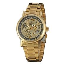 Forsining Reloj Diseño Esqueleto de Acero de Oro Ahueca Hacia Fuera la Escultura Transparente Retro Royal Luxury Viento Relojes Mecánicos Para Los Hombres