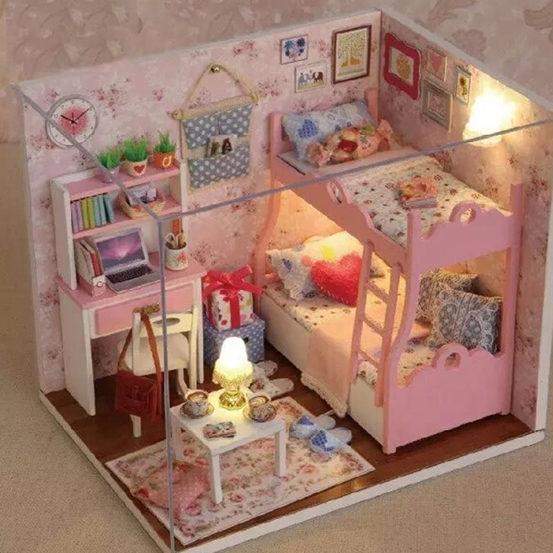 DIY Wood Dollhouse Miniature With LED+Furniture+Cover Mini Pink Living Room  Doll House Kids Toy 15.1*13.6*13.1(cm) In Doll Houses From Toys U0026 Hobbies  On ... Part 53