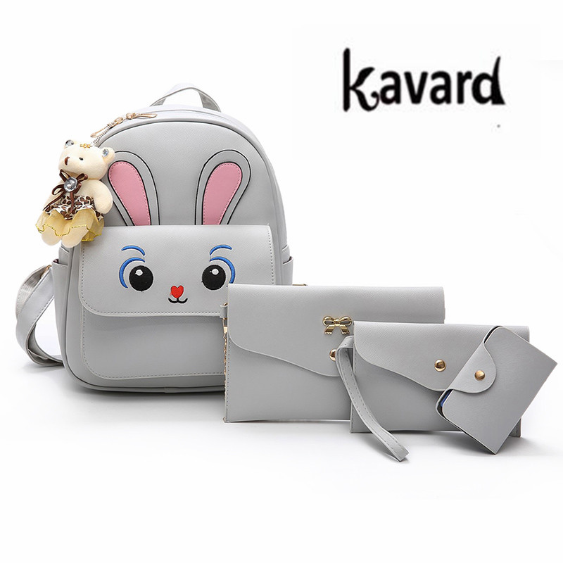 Bear Kavard Brand cute Backpack Women schoolbag for teenage girls Fashion Leather backpack purses mochilas mujer