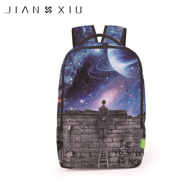 JIANXIU 3D Stars Printing Backpacks School Bags European American Fashion Trends Cartoon Kids Students Schoolbags Bag