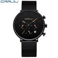 Rerkek kol saati CRRJU Mens Simple Watches Top Brand Luxury Casual Sport Watch Men Black Face Dial Quartz Steel Belt Watches