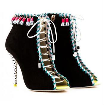 Name Hot Sale Fringe Women Ankle Bootie Peep toe Lace-up High Heel Sandal Stiletto Heel Tassel Pumps Real Photo Free Ship