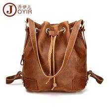 JOYIR Vintage echtem leder rucksack frau innenreißverschluss-tasche eimer tasche rucksäcke für teenager mädchen frau tasche casual 3012