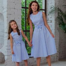 Plaid Mother and Daughter Vest Dress Family Look Mom Daughter Matching Dresses Outfits Mommy and Me Clothes Family Clothing ST все цены