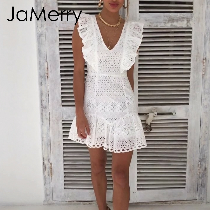 90b86fbd44e22 US $17.99 46% OFF|Aliexpress.com : Buy JaMerry Vintage white lace cotton  embroidery women dress Ruffled Spring summer mini dress Sexy party short ...