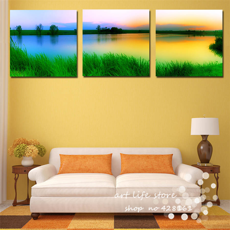 3 Panels Wall Art Pictures Best Feeling Nature Love Ladnscape Life ...