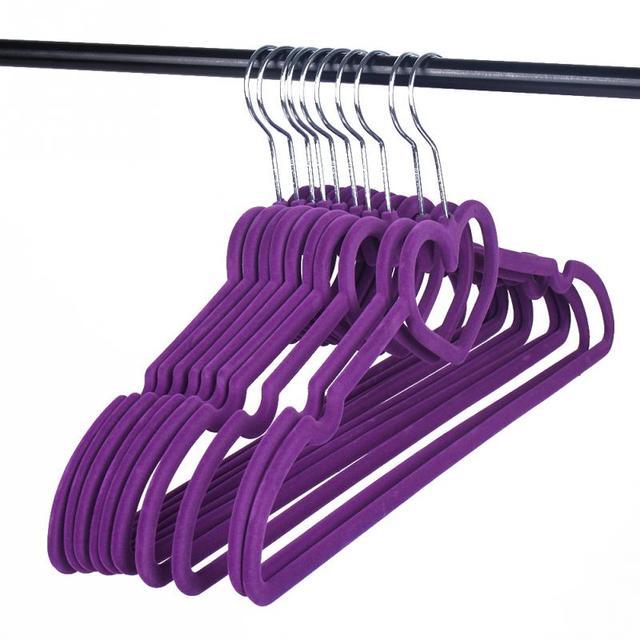 Kleiderbügel Beflockt 10 stücke beflockung rutschfeste dünne kleidung kleiderbügel