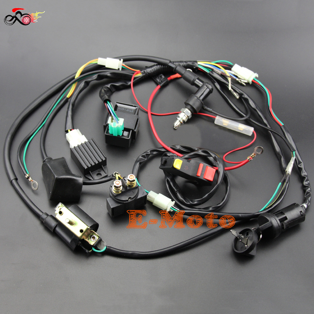 Full Wiring Harness Loom Solenoid Coil Regulator C7HSA Spark Plug 50 70cc 90cc 110cc 125cc Dirt_640x640 full wiring harness loom solenoid coil regulator c7hsa spark plug spark plug wire harness at reclaimingppi.co