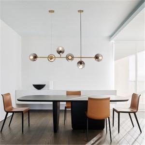 Image 4 - חדש נורדי סגנון אמנות רצועת תליון אור מודרני סלון דגם חדר זכוכית הנורה מתכת מוט E27 השעיה תאורה