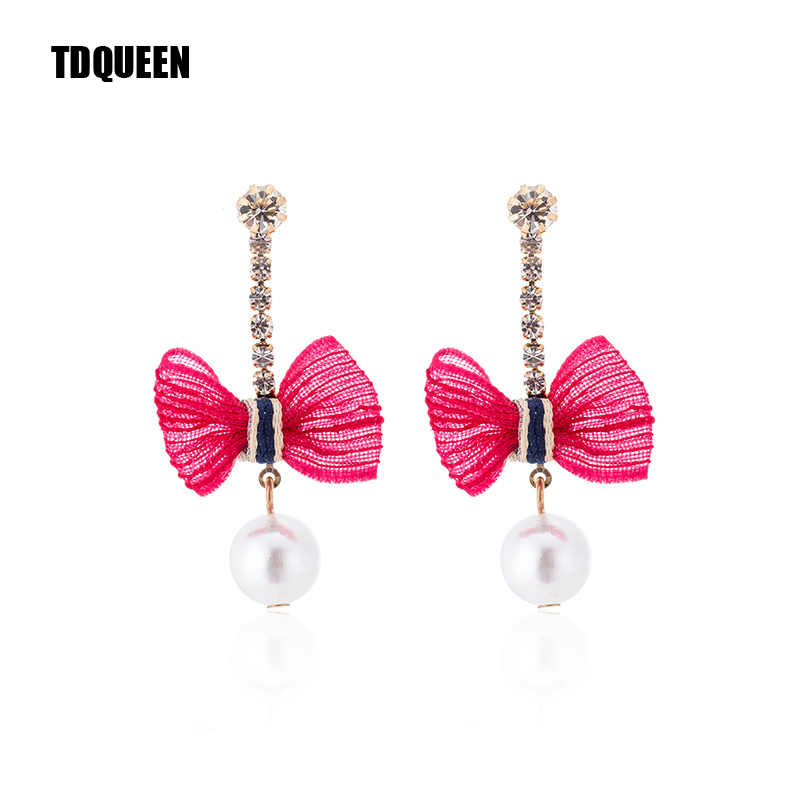 TDQUEEN Lace Bowknot Drop Earrings Round Pearl Pendant Boho Costume Jewelry Gift Korean New Dangle Statement Earring For Women
