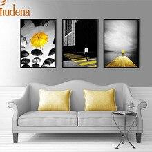 ALMUDENA современный черный и белый желтый зонтик декоративные настенные картины холст живопись плакат украшение дома без рамки