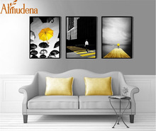 ALMUDENA Modern Black and White Yellow Umbrella Decorative Wall Pictures Canvas Painting Poster Home Decoration No Framed