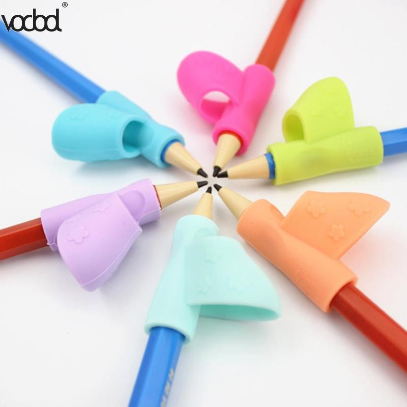 3pcs Children Pencil Holder Writing Corrector Hot Kids Silicone Pen Writing Aid Grip Posture Correction Device Tool For Students