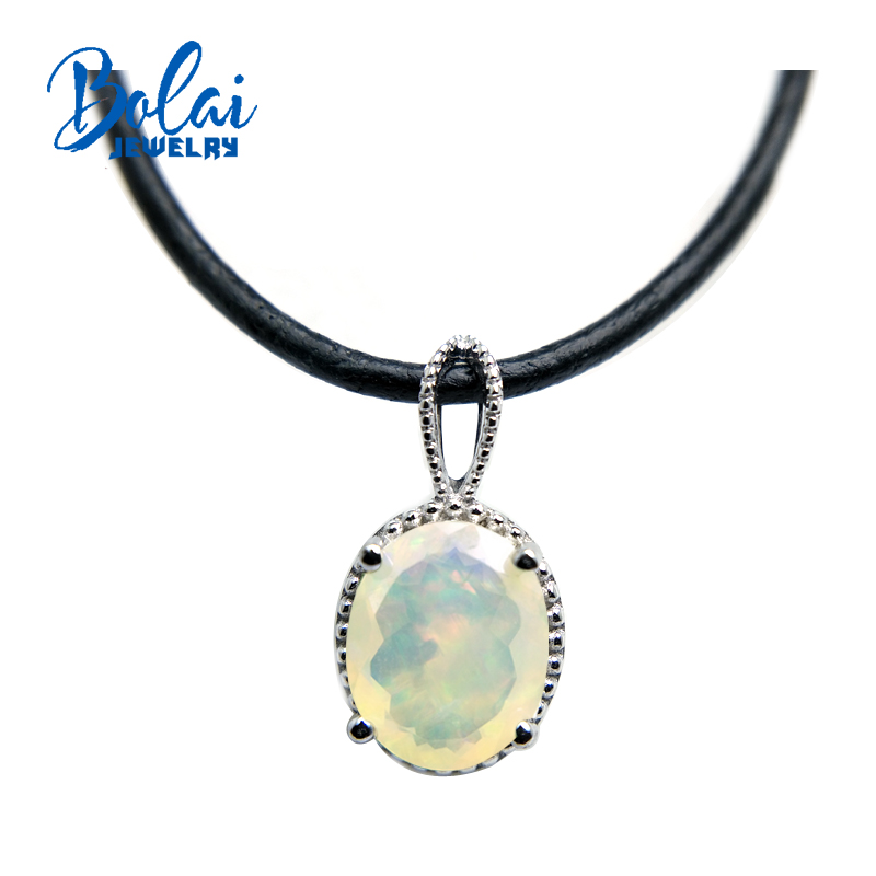 Bolaijewelry,Natural Opal oval 9*11mm cut gemstone pendants &necklace 925 sterling silver fine jewelry for women party giftBolaijewelry,Natural Opal oval 9*11mm cut gemstone pendants &necklace 925 sterling silver fine jewelry for women party gift